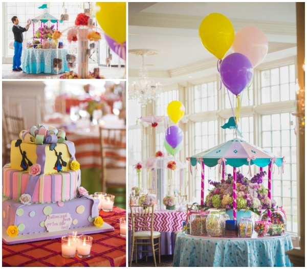 Gorgeous, Carousel Like Table Decorations Stood Over Ornate Flower Displays  And Was Surrounded By Whimsical Glass Jars Filled To The Brim With Colorful  ...